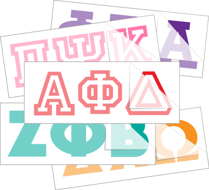 High Quality Greek Letter Stickers and Decals