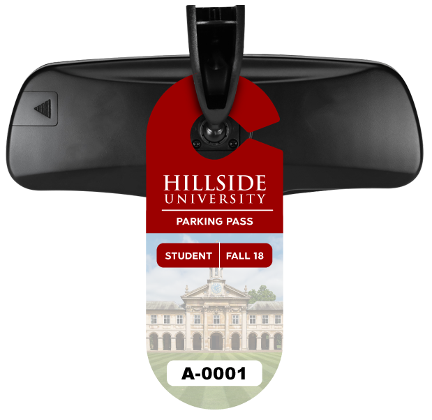 Hang Tag Parking Permit on Car Rear View Mirror